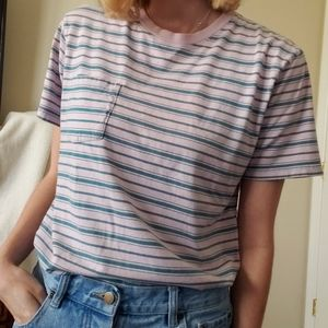 Urban Outfitters pink t-shirt with teal stripes